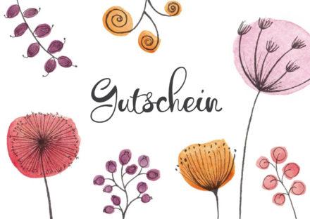 Geschenkgutschein als Karte mit Blumen zum Verschenken