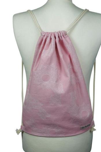 Fräulein Hübsch Stoffrucksack in Rosa mit floralen Muster und beiger Kordel