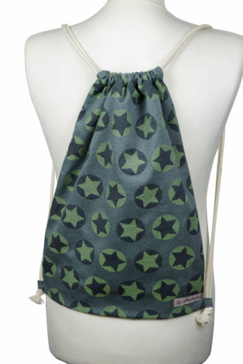 Stroffrucksack Fräulein Hübsch grüne und graue Sterne
