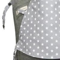 Babytrage Fräulein Hübsch Mei Tai Babysize in Dunkelgrau mit weißen Sternen auf der Kopstütze Detailfoto