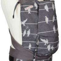 Babytrage Fräulein Hübsch Mei Tai Toddlersize in Dunkelgrau mit weißen Vögel