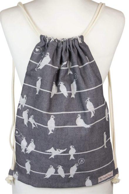 Fräulein Hübsch Stoffrucksack mit Leinenkordel weißes Vogelmuster auf grauen Hintergrund