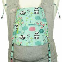 Babytrage Fräulein Hübsch Soft Tai Toddlersize Hellgrau mit Pandas