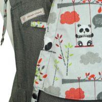 Detailfoto Babytrage Fräulein Hübsch Soft Tai Babysize Dunkelgrau mit Pandas