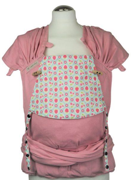 Babytrage Fräulein Hübsch WrapCon Babysize Rosa mit Erdbeeren und kleinen Blumen
