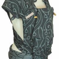 Babytrage Fräulein Hübsch WrapCon Babysize Dunkelgrau mit hellgrauen Schnörkel Muster Seitenansicht