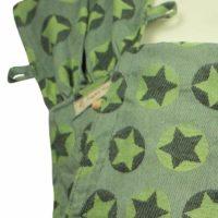 Babytrage Fräulein Hübsch WrapCon Toddlersize Hellgrau mit grünen und dunkelgrauen Sternen Detailansicht