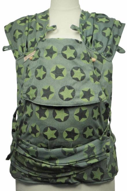 Babytrage Fräulein Hübsch WrapCon Toddlersize Hellgrau mit grünen und dunkelgrauen Sternen