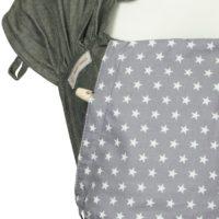 Detailfoto Babytrage Fräulein Hübsch WrapCon Babysize Dunkelgrau mit weißen Sternen auf der Kopfstütze