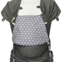 Babytrage Fräulein Hübsch WrapCon Babysize Dunkelgrau mit weißen Sternen auf der Kopfstütze