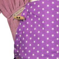 Babytrage Fräulein Hübsch WrapCon Toddlersize lila mit kleinen weißen Sternen an der Kopfstütze Detailansicht