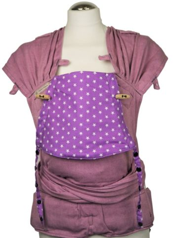 Babytrage Fräulein Hübsch WrapCon Toddlersize lila mit kleinen weißen Sternen an der Kopfstützeiv