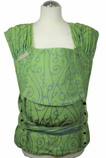 Babytrage Fräulein Hübsch Hellgrün mit hellgrauen Schnörkel  Muster