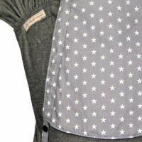 Babytrage Fäulein Hübsch WrapCon Babysize Dunkelgrau mit weißen Sternen auf der Kopfstütze