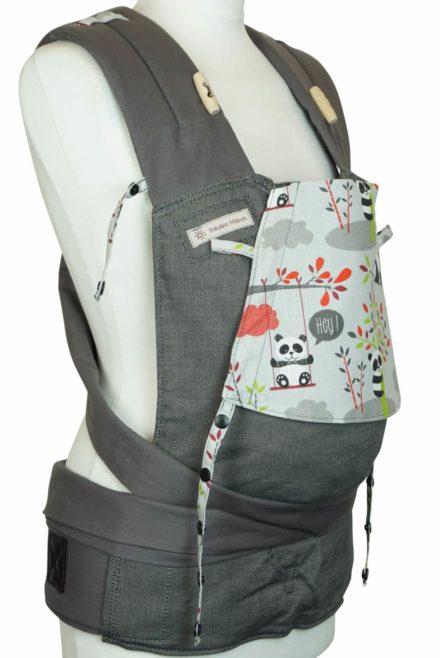 Babytrage Fräulein Hübsch WrapCon Babysize Dunkelgrau mit Pandas