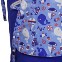 Babytrage Soft Tai Toddlersize in Ultramarinblau mit Walen und Schiffen