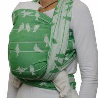 Fräulein Hübsch Tragetuch in Grün und Weiß mit Vögel