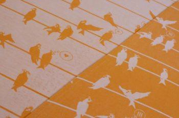 Fräulein Hübsch Tragetuch in Orange und Weiß mit Vögel