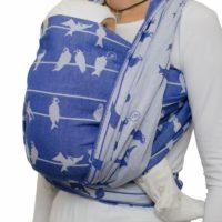 Tragefoto Fräulein Hübsch Tragetuch in Blau und Weiß mit Vögel