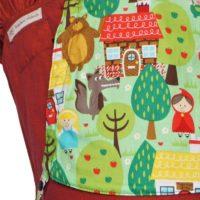 Detailfoto Babytrage Fräulein Hübsch WrapCon Toddlersize in Rot mit Märchenfiguren Detailansicht