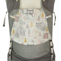 Babytrage in Babysize mit Igel, Bären und Eulen in Grau, Ocker und Rosa