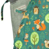 Detail Babycarrier Mei Tai Babysize Grey with forestanimals, Hedgehog, Fox, Deer