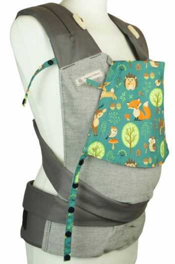 Babycarrier Mei Tai Babysize Grey with forestanimals, Hedgehog, Fox, Deer