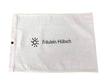 Stoffaufbewahrungsbeutel aus weißer Baumwolle mit schwarzem Aufdruck Fräulein Hübsch
