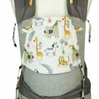 Babytrage Fräulein Hübsch Mei Tai Babysize in Hellgrau mit wilden Tieren auf weißer Kopfstütze