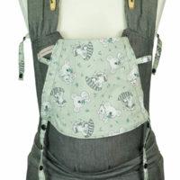 Babytrage Fräulein Hübsch Soft Tai Babysize Dunkelgrau mit Koala und Waschbären auf der Kopfstütze