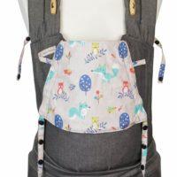 Babytrage Fräulein Hübsch Soft Tai Babysize Dunkelgrau mit Füchsen und Eulen auf der Kopfstütze