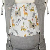 Babytrage Fräulein Hübsch Soft Tai Toddlersize in Hellgrau mit wilden Tieren auf weißer Kopfstütze