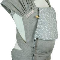 Babytrage Fräulein Hübsch WrapCon Babysize Hellgrau mit weißen Anker auf der Kopfstütze