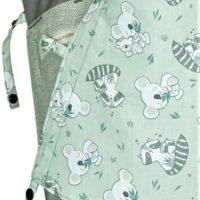 Babytrage Fräulein Hübsch Mei Tai Babysize Hellgrau mit Koala und Waschbären auf der Kopfstütze Detailansicht