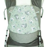 Babytrage Fräulein Hübsch Mei Tai Babysize Hellgrau mit Koala und Waschbären auf der Kopfstütze