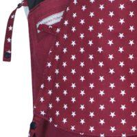 Babytrage Fräulein Hübsch Mei Tai Babysize Weinrot mit kleinen weißen Sternen auf der Weinroten Kopfstütze Detailansicht