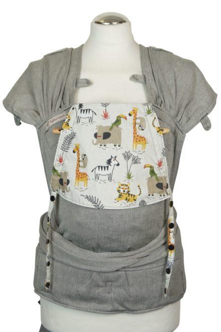 Babytrage Fräulein Hübsch WrapCon Babysize Hellgrau mit wilden Tieren auf der Kopfstütze